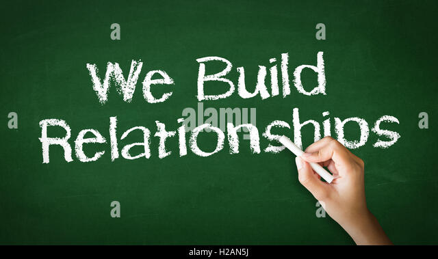 We Build Relationships Chalk Illustration - Stock Image