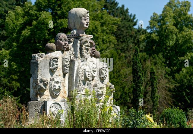 Grotesque sculptures in mixed styles of several epochs by Max Buchhauser, sculpture garden Max-Buchhauser-Garten, - Stock-Bilder