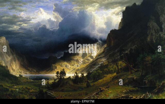 Albert Bierstadt  A Storm in the Rocky Mountains, Mt. Rosalie - Stock Image