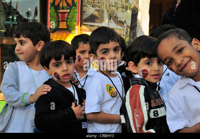 Kindergarten, excursion in Souq Waqif, Doha, Qatar, Middle East - Stock Image