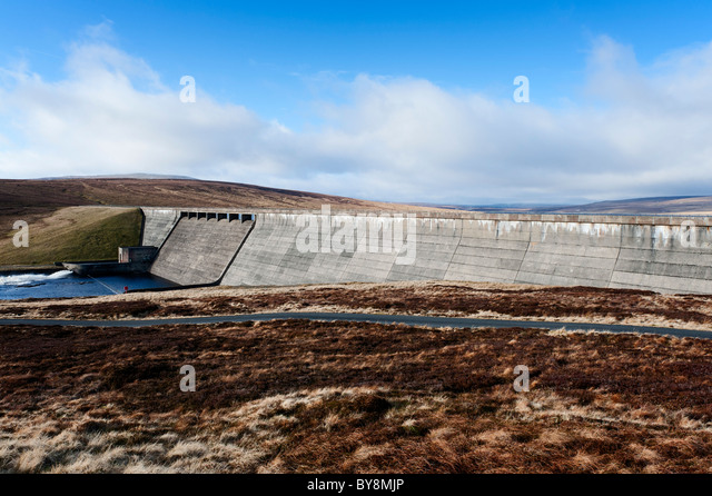 The dam at Cow Green reservoir. - Stock Image