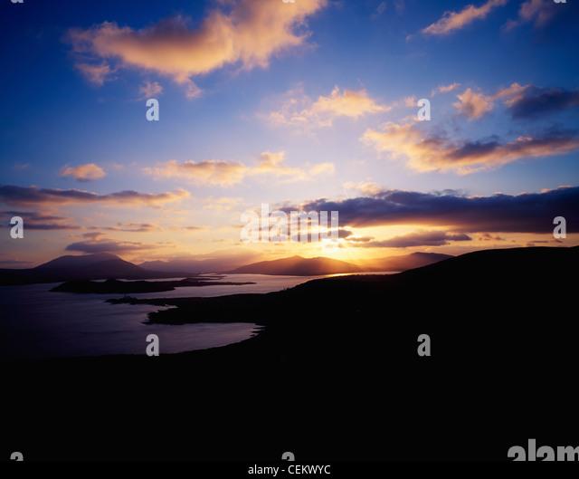 Sunbursts From Valentia Island, Douglas Head To Cahirciveen, Co Kerry, Ireland - Stock Image