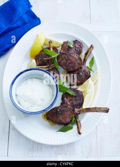 Plate of lamb mint and yogurt - Stock Image