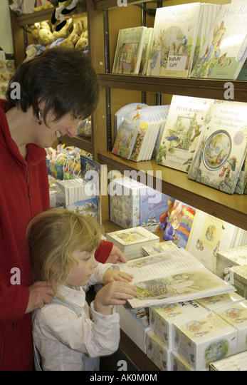 England UK Sawrey Hill Top Beatrix Potter home Peter Rabbit author gift store books - Stock Image