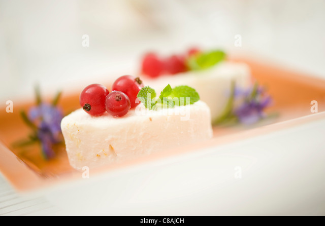 Goat's cheese ,redcurrants and mint - Stock Image