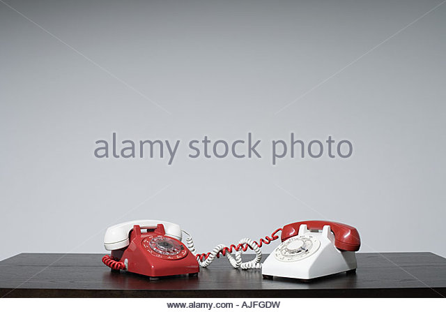 Different receivers on different phones - Stock Image