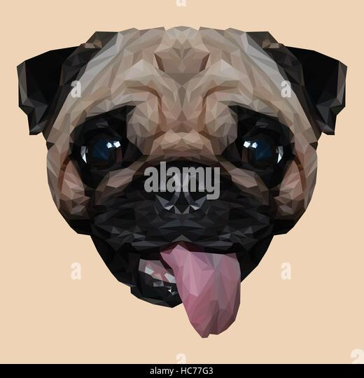 Black And White Low Poly Art Dog