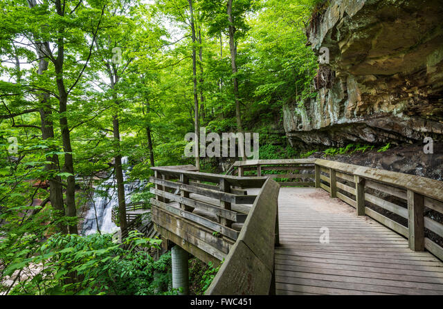 Wooden walkway leads to Brandywine Falls, Cuyahoga Valley National Park, OH - Stock Image