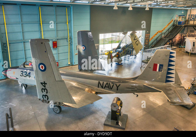 McDonnell F2H Banshee, jet fighter aircraft at Naval Museum of Alberta section of The Military Museums, Calgary, - Stock Image