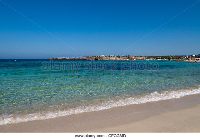 Beach Es Pujol Formentera Balearics Spain - Stock Image