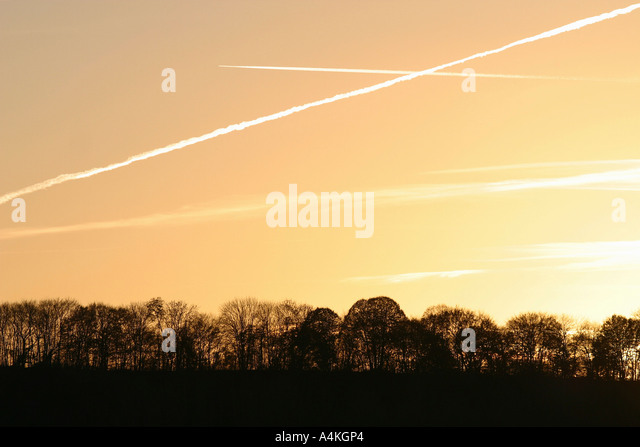 Vapor trails in sky at sunset - Stock Image