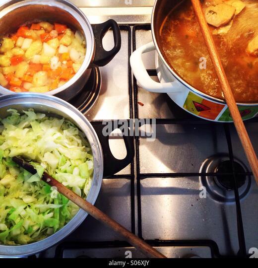 Kitchen in restaurant - Stock-Bilder