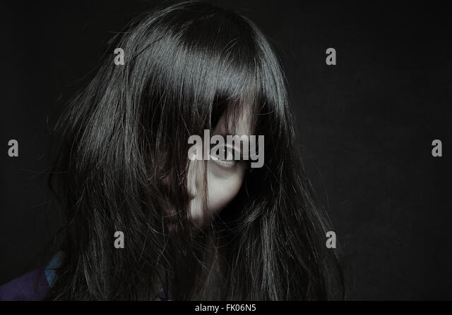 Dark portrait of a pale japanese woman. Halloween and horror - Stock-Bilder