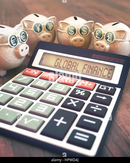 Calculator with global finance and piggy banks, illustration. - Stock-Bilder