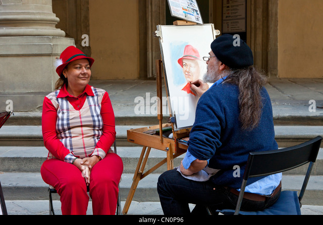 Europe, Italy, Florence, Street artist Painter at Uffizi Piazzale - Stock Image