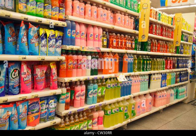 Mendoza Argentina Villa Nueva Mendoza Plaza Shopping grocery store supermarket business shopping shelf shelves packaging - Stock Image
