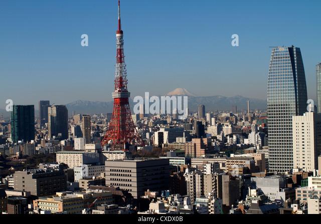 Tokyo tower, city skyline and Mount Fuji beyond, Tokyo, Japan, Asia - Stock Image