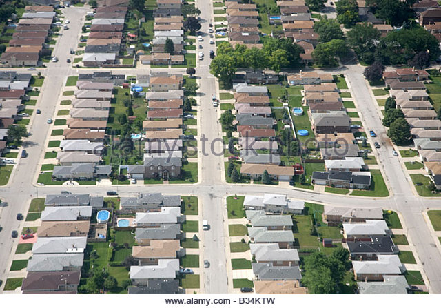 Chicago Illinois aerial near ORD O'Hare International Airport onboard American Airlines landing approaching - Stock Image
