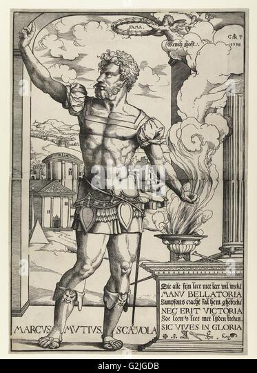 Marcus Mucius Scaevola, Cornelis Anthonisz., Jan Ewoutsz., 1536 - Stock Image