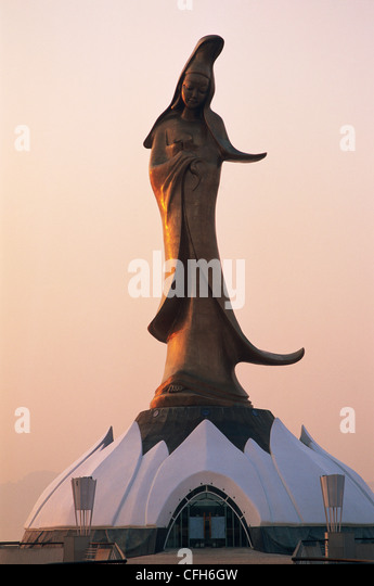 China, Macau, Goddess of Mercy Statue at Dawn - Stock Image