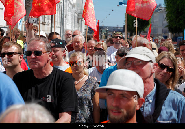 Copenhagen, Denmark. July 1, 2015. The Danish labour market model and the Danish Federation of Trade Unions (LO) - Stock Image