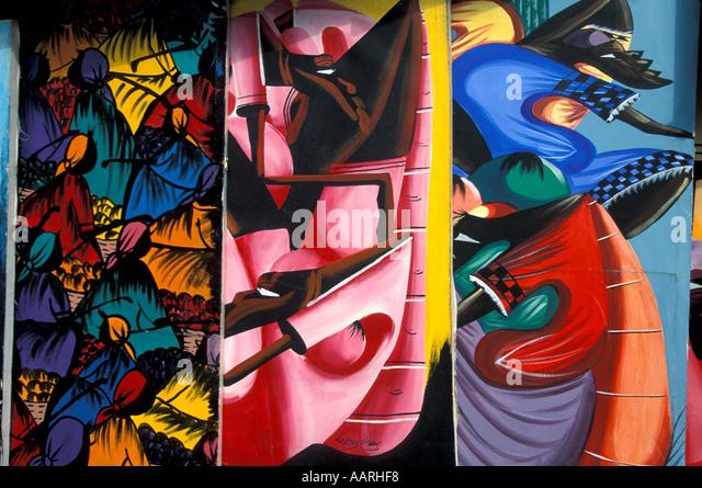 Jamaica Craft Market display paintings Ocho Rios - Stock Image