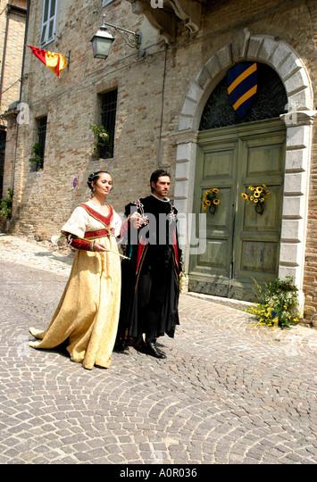 medieval costume in procession at Monterubbiano annual festival ,Le Marche Italy - Stock Image