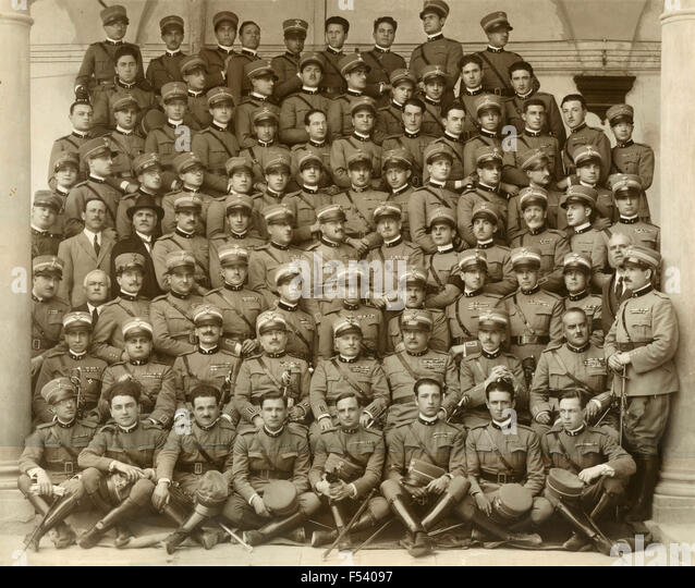 Group photo of officers of the Royal Italian Army , Italy - Stock Image