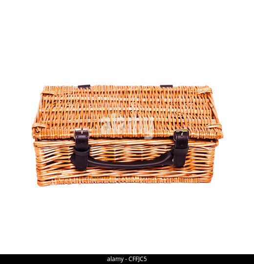 Traditional Small Wicker Basket With Liner&handle : Picnic basket cutout stock photos