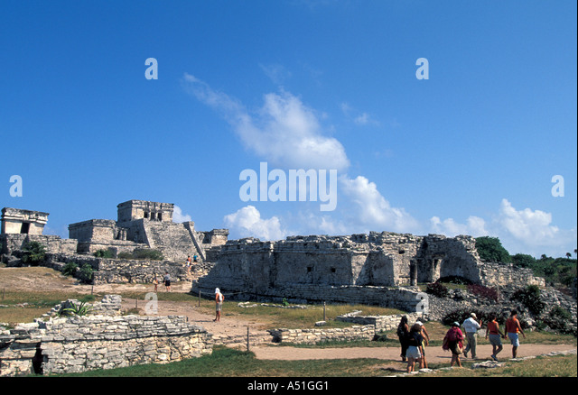 Tulum Mexico Mayan walled city tourist attraction cruise excursion destination mayan riviera maya archaeological - Stock Image