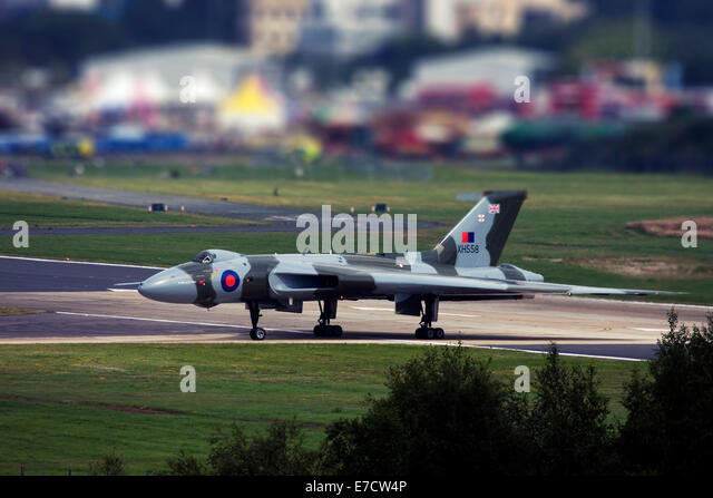 Avro 698 Vulcan B2  strategic bomber at Farnborough International Airshow 2014 - Stock Image