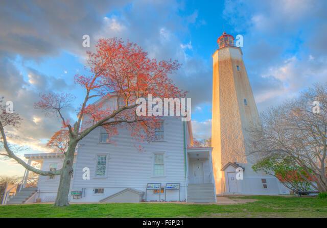 Sandy Hook Light, Gateway National Recreation Area, New Jersey, Oldest lighthouses in U.S. Fort Hancock, Monmouth - Stock-Bilder