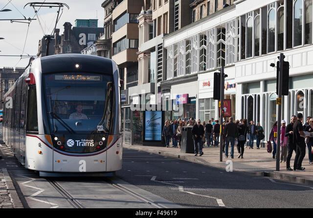 Edinburgh tram on Princes Street. - Stock Image