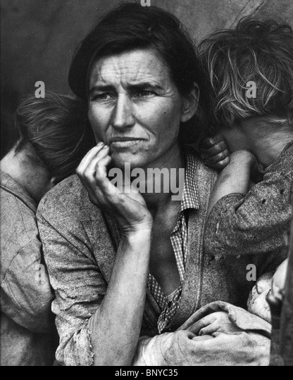 MIGRANT MOTHER - Dorothea Lange's iconic photo taken during the American Depression in 1936 - see Description - Stock Image