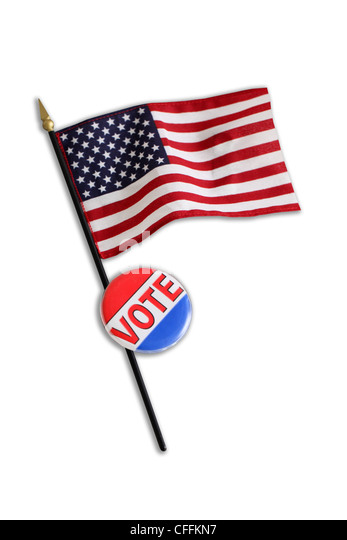 American flag and VOTE button cut out on white background - Stock Image