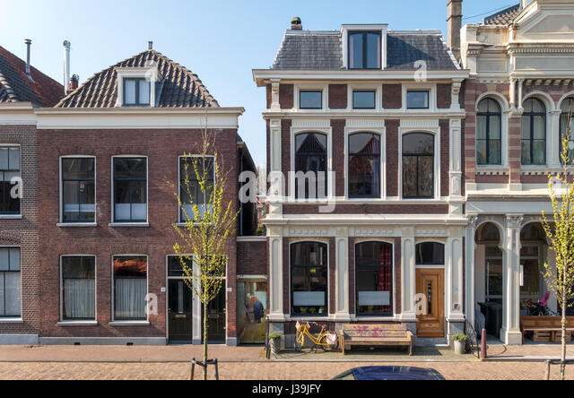 Delft Vermeer The Little Street. Vlamingstraat 40 and 42 the original exact location of The Little Street by Johannes - Stock Image