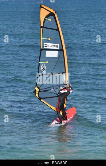 Israel Tel Aviv Windsurfing in the Mediterranean sea - Stock Image