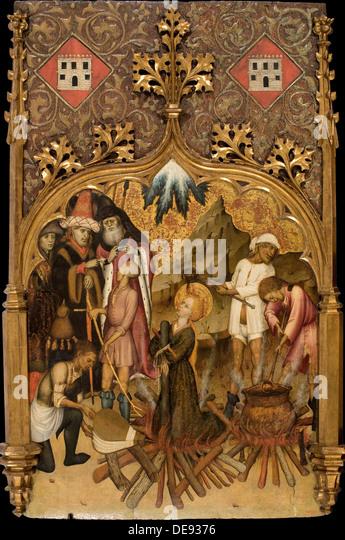 The Martyrdom of Saint Lucy, c. 1440. Artist: Martorell, Bernat, the Elder (1390-1452) - Stock Image