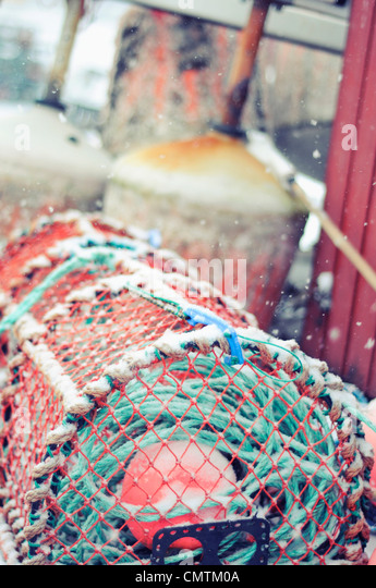 Close-up of fishing net - Stock Image