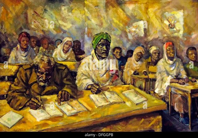 ´Ethno Museum´ at Addis Ababa: artist impression of literacy during the comunist periode, Ethiopia - Stock Image