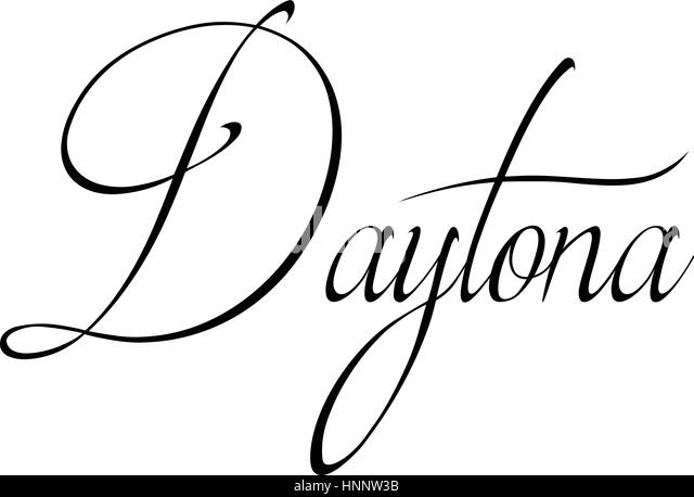 Daytona text sign illustration on white Background - Stock Image