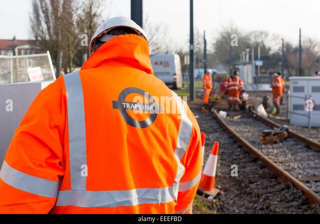 Tramlink improvement works at New Addington - Stock Image