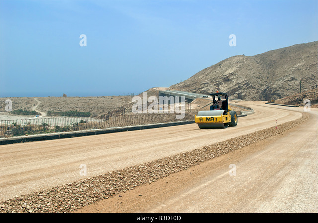 Constructing new highway Muscat to Sur Sharqiya Region Sultanate of Oman - Stock Image