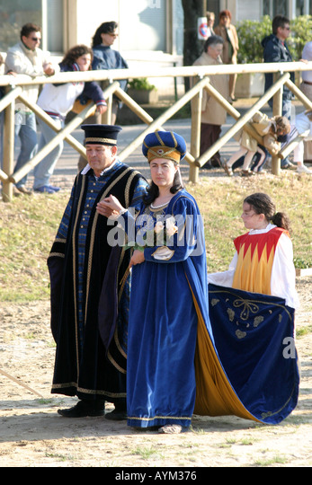 Medieval costumes at the annual Pentecost Festival  at Monte  Rubbiano,Le Marche Italy. - Stock Image