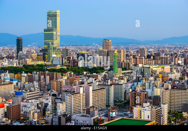 Osaka, Japan at Abeno District and Shinsekai. - Stock Image