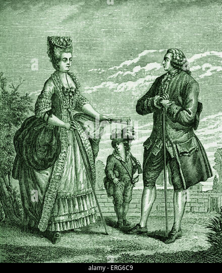 The Bourgeois, his Wife and Child; after Dupin's costumes.  Rise of the French middle class.  Pre- French revolution. - Stock Image