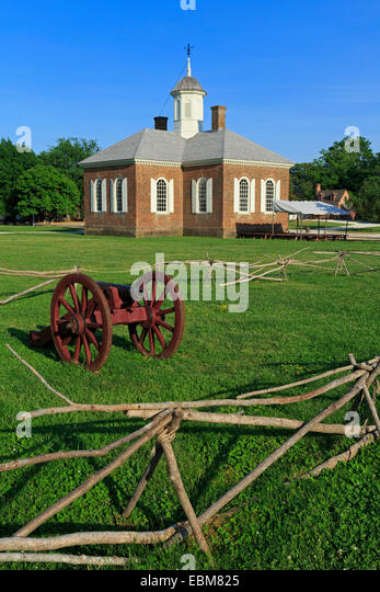 Cannon in Colonial Williamsburg, Virginia, USA - Stock Image
