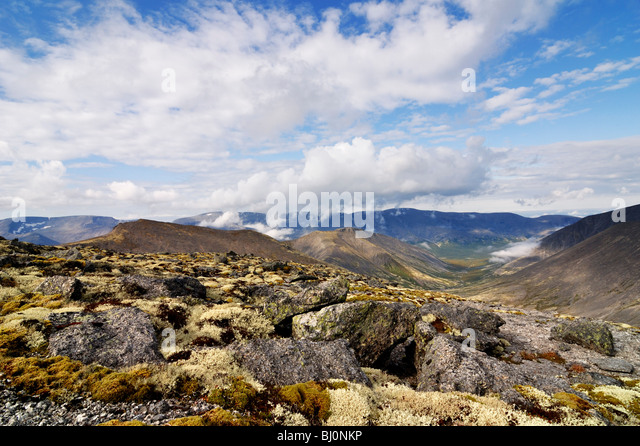 risiok river valley on russian kola peninsula seen from southern rischorr pass - Stock Image