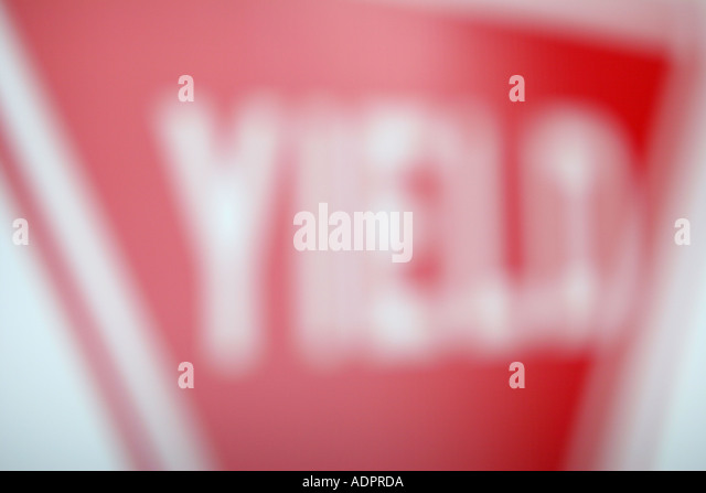 Florida, yield sign, out of focus, message, red, - Stock Image