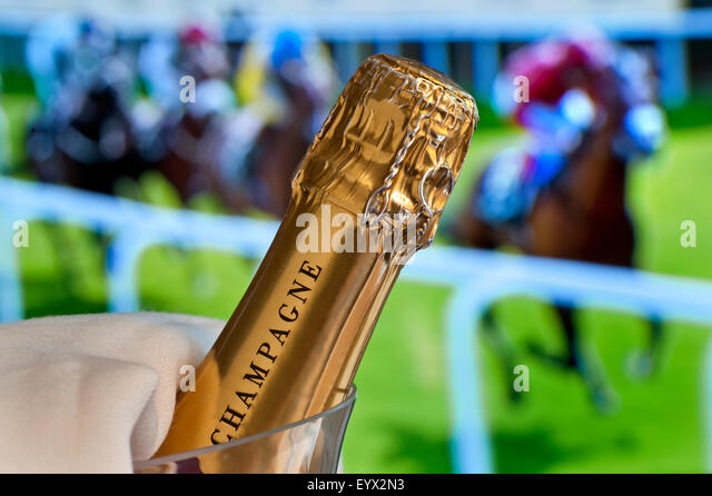 Close view on champagne bottle in cooler with Royal Ascot Ladies Day horse racing in background Ascot Berkshire - Stock Image